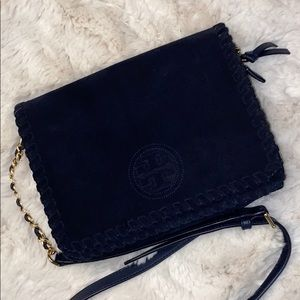 Tory Burch Marion Suede Navy Blue Crossbody Bag